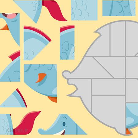 دانلود فایل وکتوری قالب بازی پازل در هم ریخته ی ماهی، با تصویر کوچک راهنما، مناسب برای طراحی ui گیم