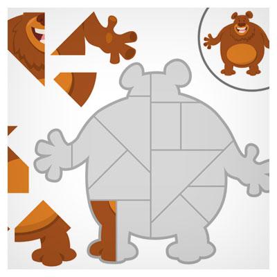 دانلود طرح گرافیکی بکگراند فریم بازی پازل حیوانات به شکل خرس قهوه ای به هم ریخته مناسب برای طراحان بازیهای موبایلی