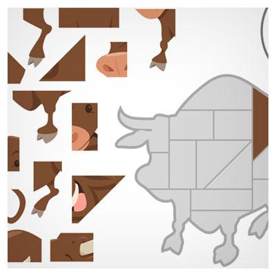 دانلود فایل وکتور پس زمینه آماده بازی پازل مبایلی به شکل یک گاو قهوه ای شاخدار قابل ویرایش در نرم افزار ادوب ایلستریتور