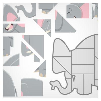دانلود فایل لایه باز eps و ai بکگراند بازی پازل به صورت فریم یک فیل بزرگ مناسب طراحی بازی های موبایلی
