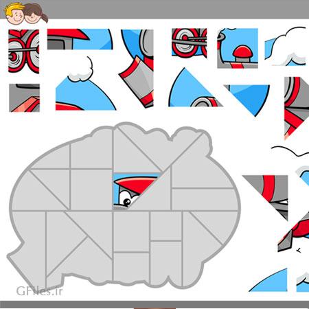دانلود فایل لایه باز eps و ai پس زمینه بازی به صورت فریم تصویری یک واگن قطار خوشحال در حال حرکت