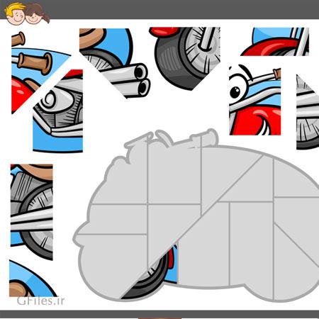 دانلود فایل وکتور پس زمینه آماده بازی پازل تکه تکه به صورت یک موتور گازی مناسب برای طراحی ui بازی های تلفن همراه