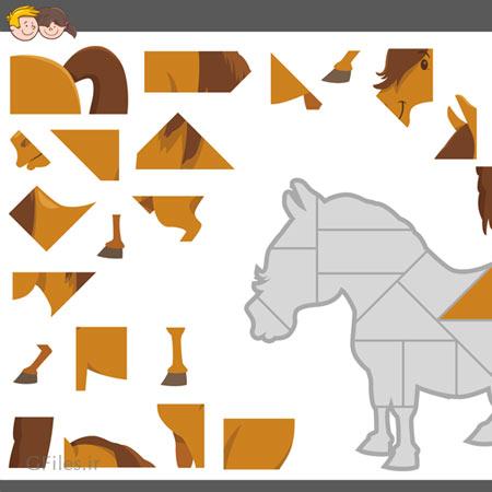 دانلود فایل وکتور بکگراند آماده بازی پازل جورچین با فریم تصویری اسب قهوه ای قابل ویرایش در نرم افزار ادوب ایلستریتور