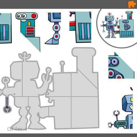 دانلود فایل وکتور پس زمینه آماده بازی پازل گیم با تصویر کاراکتر روبات مناسب برای طراحان بازی های موبایلی