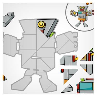 دانلود فایل لایه باز eps و ai پس زمینه بازی پازل به شکل یک روبات بامزه کارتونی مناسب برای طراحان بازی های موبایلی