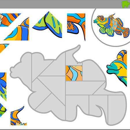 دانلود فایل وکتور پس زمینه آماده بازی پازل گیم با طراحی فریم ماهی در دریا قابل ویرایش در نرم افزار ادوب ایلستریتور