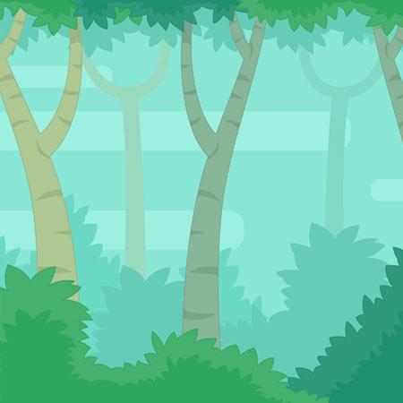 دانلود بکگراند بازی جنگل با تصویر گرافیکی لایه باز درختان سبز، مناسب برای طراحی ui بازی های موبایلی