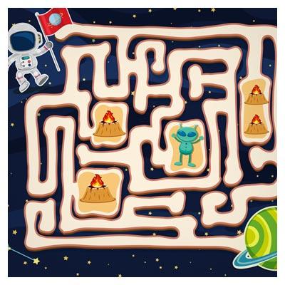 دانلود فایل تمپلت بازی ماز، به صورت مسیر مارپیچ با موجودات فضایی ناشناس، مناسب برای طراحی ui بازی های تلفن همراه