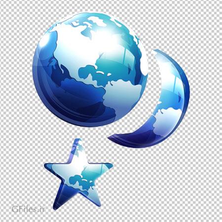 دانلود فایل ترانسپرنت png ماه و ستاره سه بعدی آبی بدون پس زمینه