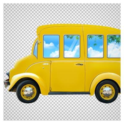 تصویر کارتونی اتوبوس مدرسه با رنگ زرد بصورت ترانسپرنت