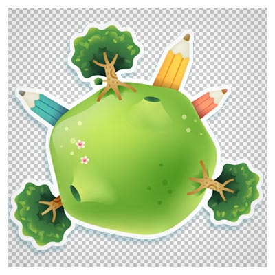 تصویر فانتزی کارتونی با طرح کره سبز ، مداد و درختان زیبا