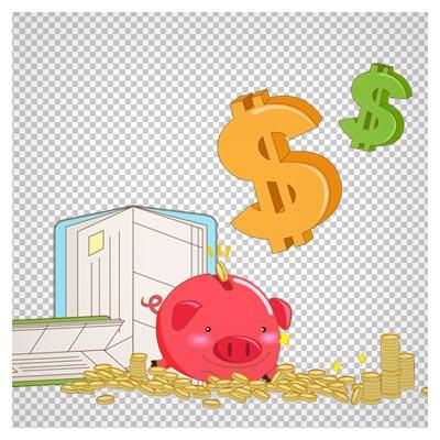 طرح گرافیکی دوربری شده با المان های خوک ، سکه های طلا و دلار