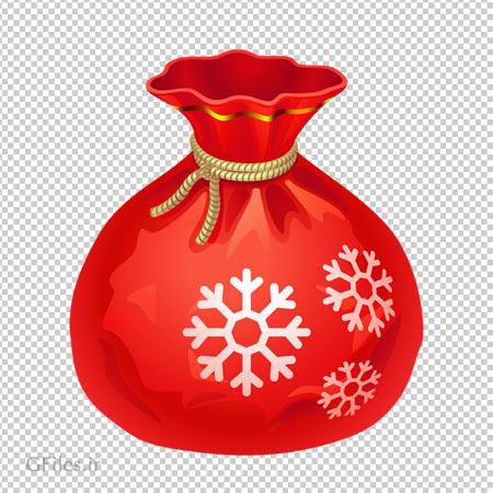 فایل دوربری شده کیسه قرمز هدایای بابانوئل بصورت PNG