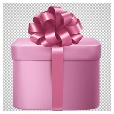 دانلود فایل PNG و دوربری شده جعبه هدیه صورتی رنگ با کیفیت بالا