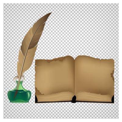 فایل دوربری شده و png کتاب قدیمی و قلم و دوات پر بدون پس زمینه
