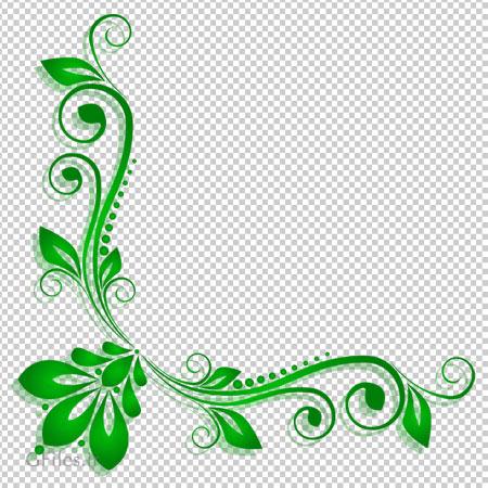 دانلود فایل png حاشیه گل دار سبز بصورت گوشه ای