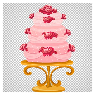 فایل کارتونی کیک چند طبقه با طعم توت فرنگی بصورت png