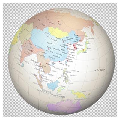 فایل دوربری شده کره گرد جغرافیایی با نقشه جهان بصورت png