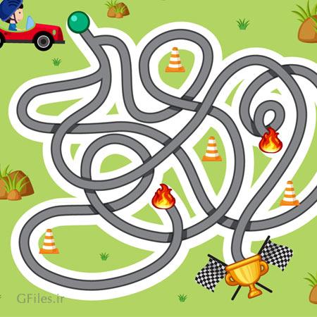دانلود فایل لایه باز تمپلت بازی ماز، به صورت مسیر مارپیچ برای اتومبیلرانی پسربچه، مناسب برای طراحان گیم موبایلی