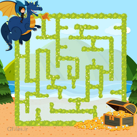 دانلود فایل وکتوری آماده برای طراحی فریم و قالب بازی، با طراحی مسیر پر پیچ و خم برای کاراکتر اژدها به سمت صندوقچه گنج