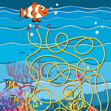 دانلود فایل گرافیکی آماده طراحی قالب وکتوری بازی ماز، با کاراکتر ماهی و صخره و مرجان، مناسب برای طراحی ui بازی های تلفن همراه