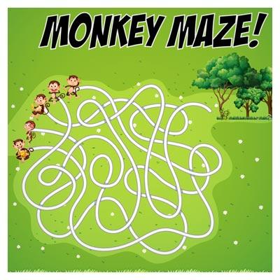 دانلود فایل وکتوری بکگراند بازی ماز، با کاراکترهای میمون در جنگل، مناسب برای طراحی ui بازی های تلفن همراه