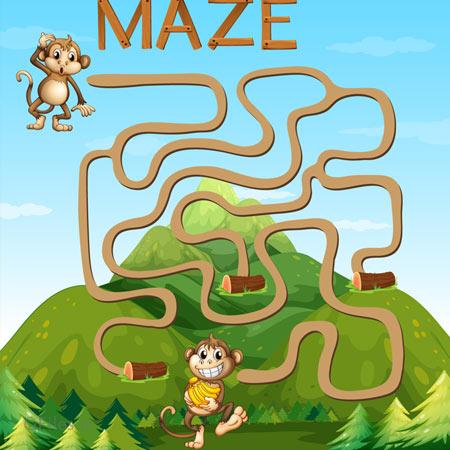 دانلود بکگراند وکتوری بازی ماز، میمون در مسیر مارپیچ جنگلی، مناسب برای طراحان بازی تلفن همراه