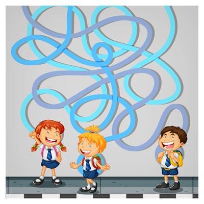 دانلود طرح وکتوری پس زمینه بازی ماز، با مسیر مارپیچی دانش آموزان برای رسیدن به مدرسه