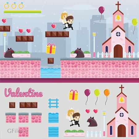 دانلود فایل لایه باز آیکون و المان بازی، ماجرای مدرن ولنتاین برای زن و شوهر، مناسب برای طراحان بازی تلفن همراه