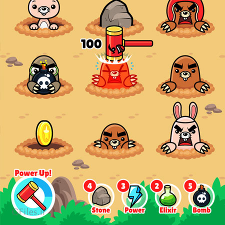 دانلود بکگراند بازی حمله به حیوانات کوچک با چکش، مناسب برای طراحی ui بازی های موبایلی