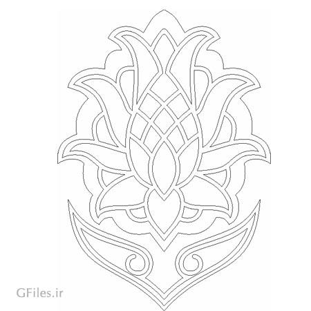 طرح زیبای گل تذهیبی اسلامی مناسب برای برش لیزر یا سی ان سی