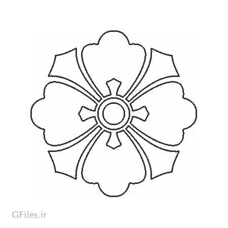 وکتور طرح گل ساده تزئینی جهت تزئین درب کمد و ... و برش لیزر یا سی ان سی