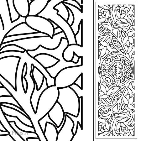 وکتور لایه باز پنل مشبک با طرح برگ و گل