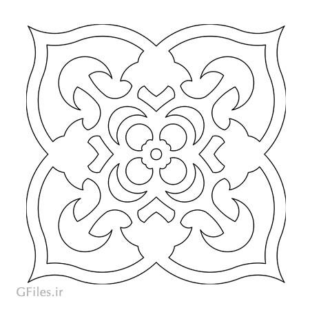 وکتور طرح گل تزئینی بصورت لایه باز مناسب برای برش لیزر یا cnc