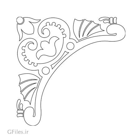 طرح لایه باز تزئینات کنج یا گوشه برای برش لیزر یا سی ان سی