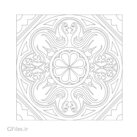 طرح وکتور تزئینی مربعی بصورت لایه باز و گرافیکی