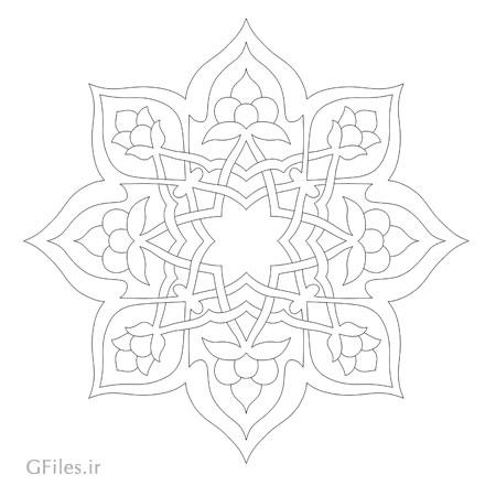 وکتور ستاره ای تزئینی جهت برش لیزر یا سی ان سی