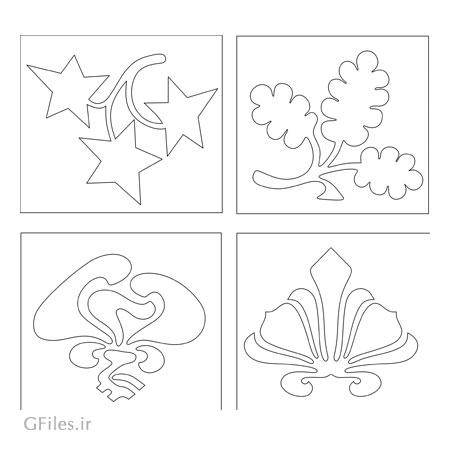 وکتور لایه باز مجموعه چهار طرح تزئینی جهت برش لیزر یا سی ان سی
