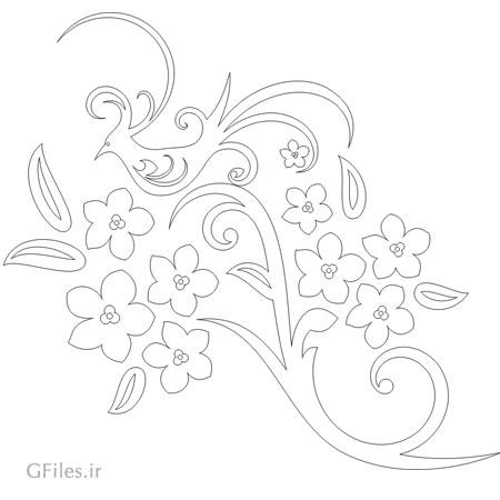 فایل لیزر و cnc با طرح گل و پرنده با دو پسوند cdr و dxf