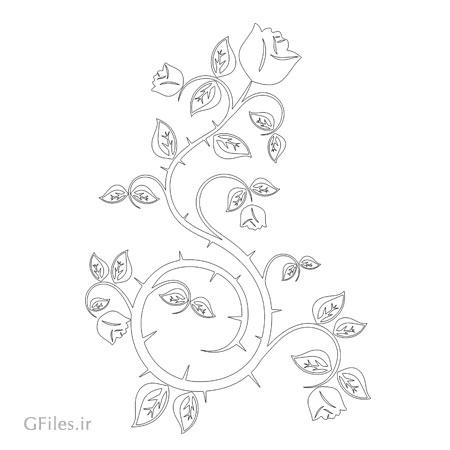 دانلود طرح تزئینی گل رز مناسب برای برش لیزر یا cnc