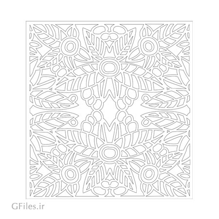 طرح پنل مشبک مربعی با المان های گل و برگ برای برش لیزر