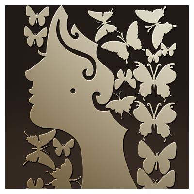 دانلود فایل آماده ساعت دیواری با طرح صورت زن و پروانه