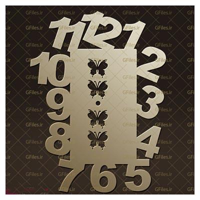 فایل dxf و cdr ساعت دیواری با اعداد درشت